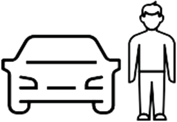 Icon Of A Person Beside An Outline Of A Car