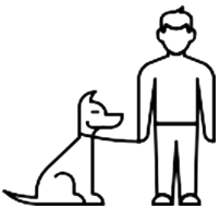 Icon Of A Man With His Dog On A Leash